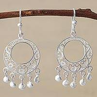 Silver filigree chandelier earrings, 'Sparkling Chandeliers'