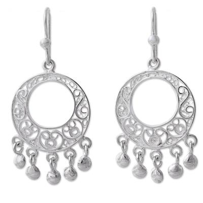 Silver filigree chandelier earrings, 'Sparkling Chandeliers' - 950 Silver Filigree Chandelier Earrings from Peru