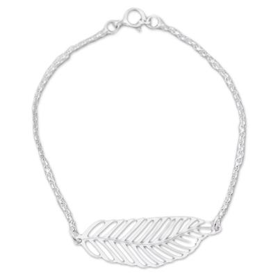 Sterling silver pendant bracelet, 'Floating Feather' - Sterling Silver Feather Pendant Bracelet from Peru