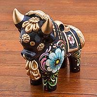 Ceramic figurine, 'Big Black Pucara Bull' - Painted Floral Metallic and Black Ceramic Bull from Peru