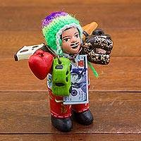 Ceramic figurine, 'Ekeko of Abundance' - Hand Painted Ekeko Sculpture with Wool Cap from Peru