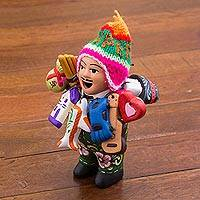 Ceramic figurine, 'Jolly Ekeko' - Painted Floral Ekeko Sculpture with Wool Cap from Peru