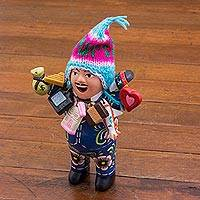 Ceramic figurine, 'Ekeko of Abundance in Blue' - Blue Painted Ekeko Sculpture with Wool Cap from Peru