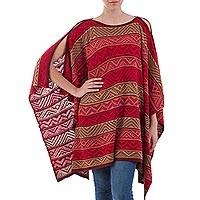 Knit poncho, 'Peruvian Heritage' - Rose Red and Tan Patterned Knitted Poncho from Peru