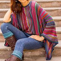 Striped kimono sleeve sweater, 'Fiesta Dance' - Colorful Striped Alpaca Wool Blend Sweater from Peru