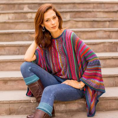 Striped kimono sleeve sweater, 'Fiesta of Color' - Colorful Striped Alpaca Wool Blend Sweater from Peru