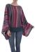 Striped kimono sleeve sweater, 'Fiesta Dance' - Colorful Striped Alpaca Wool Blend Sweater from Peru (image 2a) thumbail