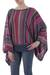 Striped kimono sleeve sweater, 'Fiesta Dance' - Colorful Striped Alpaca Wool Blend Sweater from Peru (image 2b) thumbail