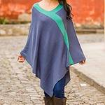 Peruvian Knit Bohemian Drape Poncho in Blue and Green, 'Blue and Green Twilight'