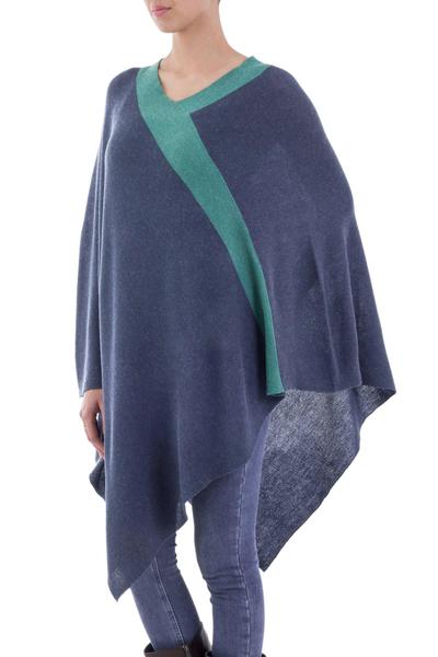 Peruvian Knit Bohemian Drape Poncho in Blue and Green