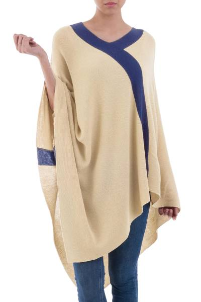 Poncho, 'Tan and Navy Beam of Light' - Tan and Navy Blue Peruvian Knit Bohemian Drape Poncho