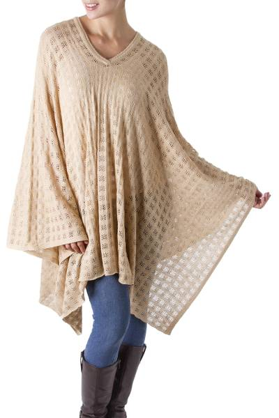 Poncho, 'Diamond Dream' - Bohemian Style One Size Fits Most Tan Poncho from Peru