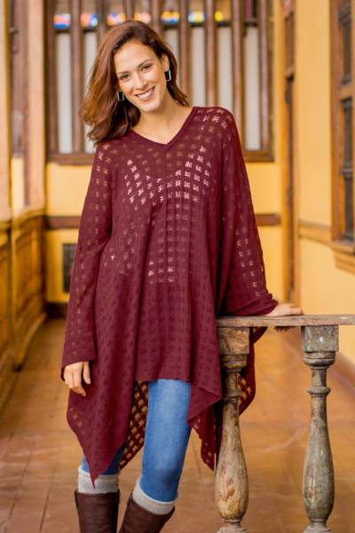 Poncho, 'Burgundy Shadow' - Bohemian Style One Size Fits Most Burgundy Poncho from Peru
