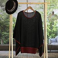 Sweater, 'Black Burgundy Dance' - Peruvian Knit Bohemian Sweater in Black and Burgundy