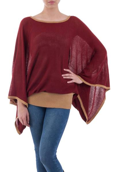 Sweater, 'Piura Dance' - Peruvian Knit Bohemian Drape Sweater in Maroon and Camel