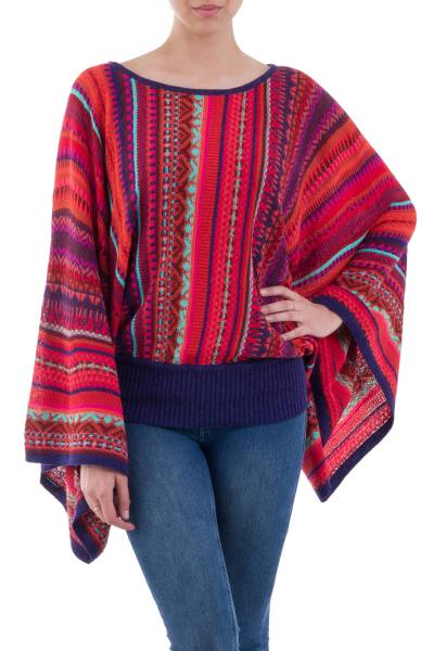 Striped kimono sleeve sweater, 'Cuzco Dance' - Peruvian Knit Bohemian Drape Sweater in Multicolor Pattern