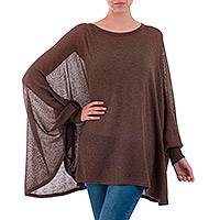 Cotton blend sweater, 'Desert Breeze' - Soft Knit Bohemian Style Brown Drape Sweater from Peru
