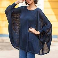 Cotton blend sweater, 'Ocean Breeze' - Soft Knit Bohemian Style Navy Blue Drape Sweater from Peru