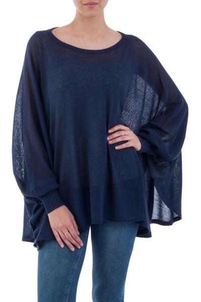Cotton blend sweater, 'Ocean Breeze' - Soft Knit Bohemian Style Navy Blue Drape Sweater from Peru