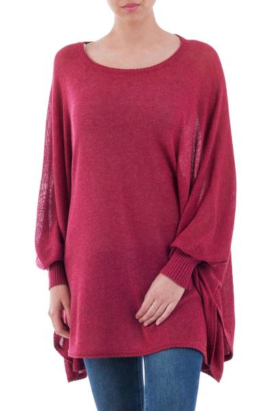 Cotton blend sweater, 'Bright Wind' - Soft Knit Bohemian Style Wine Drape Sweater from Peru