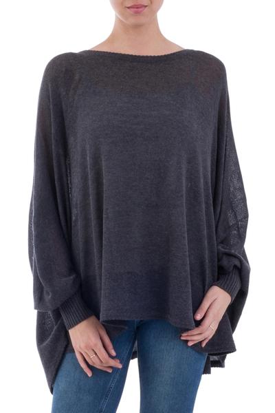 Cotton blend sweater, 'Charcoal Breeze' - Soft Knit Bohemian Style Charcoal Drape Sweater from Peru