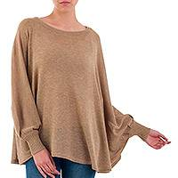 Cotton blend sweater, 'Coastal Breeze' - Soft Knit Bohemian Style Light Tan Drape Sweater from Peru