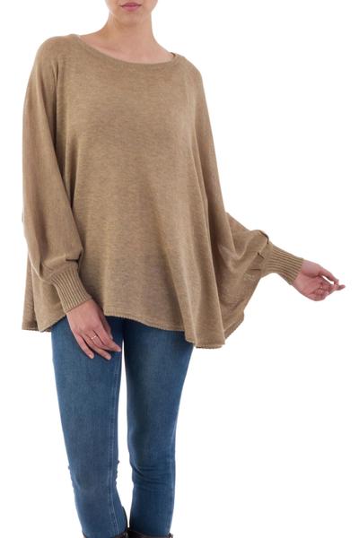 Cotton blend sweater, 'Coastal Breeze' - Soft Knit Bohemian Style Light Tan Drape Sweater from Peru