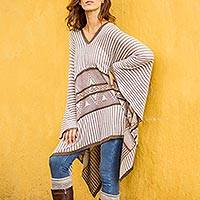Cotton blend poncho, 'Memories Past' - Bohemian Poncho in Brown and White Stripes from Peru