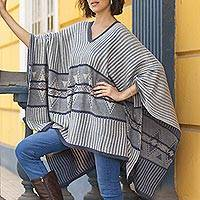 Cotton blend poncho, 'Memories Past in Blue'