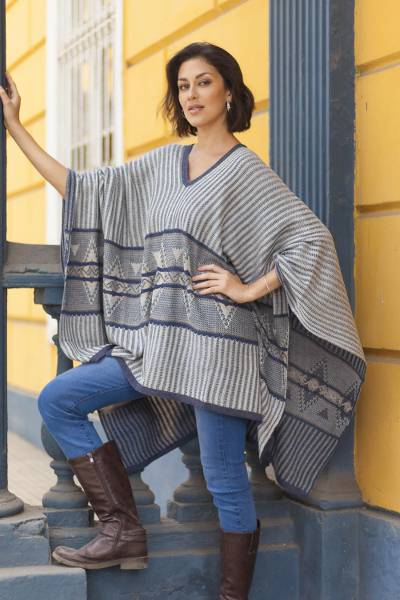 Cotton blend poncho, 'Memories Past in Blue' - Bohemian Poncho in Blue Geometric Pattern from Peru