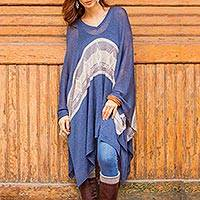 Cotton blend poncho, 'Blue Inca' - Woven Navy Blue Patterned Poncho from Peru