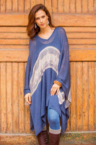 Cotton blend poncho, Blue Inca