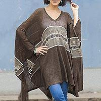 Cotton blend poncho, 'Brown Inca' - Woven Dark Brown Poncho with Stripe from Peru