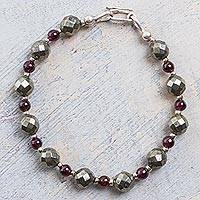 Garnet and pyrite beaded bracelet, 'Silvery Love'
