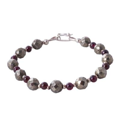 Garnet and pyrite beaded bracelet, 'Silvery Love' - Garnet Pyrite 925 Silver Artisan Crafted Beaded Bracelet