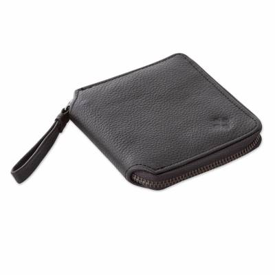 Unisex Black Leather Wallet with Handle from Peru