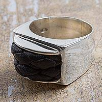 Leather accent sterling silver dome ring, 'Braided Dome'