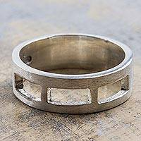 Sterling silver band ring, 'Long Windows'