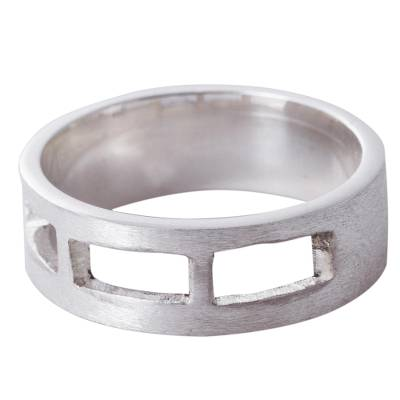 Sterling silver band ring, 'Long Windows' - Sterling Silver Openwork Band Ring 925 Jewelry from Peru