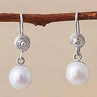 Cultured pearl dangle earrings, 'Reef Treasures' - Cultured Pearl and Sterling Silver Dangle Earrings from Peru