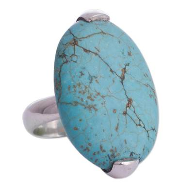 Sterling silver cocktail ring, 'Turquoise Queen' - Sterling Silver Reconstituted Turquoise Cocktail Ring Peru