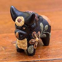 Ceramic figurine, 'Little Matte Pucara Bull' - Hand Painted Matte Ceramic Floral Bull Black from Peru