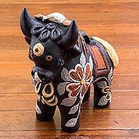 Ceramic figurine, 'Big Matte Pucara Bull' - Matte Black Hand Painted Ceramic Bull Figurine