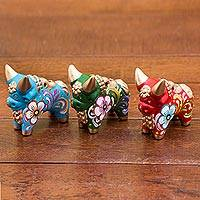 Ceramic figurines, 'Tricolor Pucara Bulls' (set of 3) - Green Blue and Red Ceramic Bull Sculptures (Set of 3)