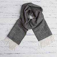 100% baby alpaca scarf, 'Lovely Slate' - 100% Baby Alpaca Wool Grey Scarf from Peru
