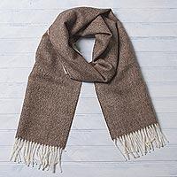 Men's 100% baby alpaca scarf, 'Lovely Chestnut' - Men's Brown 100% Baby Alpaca Wool Scarf from Peru