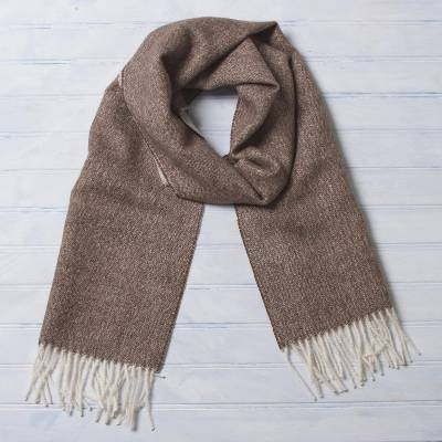 Men's 100% baby alpaca scarf, 'Lovely Chestnut' - Men's Brown 100% Baby Alpaca Wool Scarf from Peru