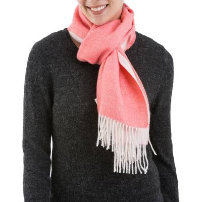 100% baby alpaca scarf, 'Lovely Carnation' - Pink 100% Baby Alpaca Wool Scarf from Peru