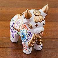 Ceramic figurine, 'White Pucara Bull' - Handcrafted White Ceramic Bull Figurine from Peru