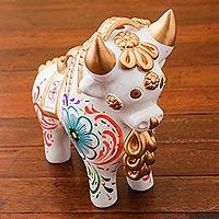 Ceramic figurine, 'Big White Pucara Bull' - White Painted Ceramic Bull Sculpture Floral Motif from Peru